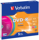Диск DVD-R Verbatim 4.7Gb 16x Slim Color (5шт) (43557)