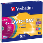 Диск DVD+RW Verbatim 4.7Gb 4x Slim Case Color (5шт) (43297)