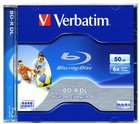 Диск BD-R Verbatim 50Gb 6x Dual Layer Jewel Case Printable (1 шт.) (43736/43735)