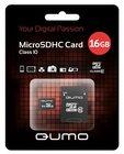 Карта памяти 16Gb MicroSD QUMO Class 10 + adapter (QM16GMICSDHC10)