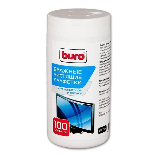 Buro чистящие салфетки для экранов и оптики, туба 100 шт (BU-TSCRL)