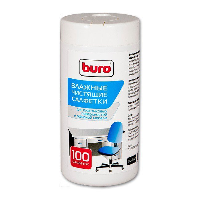 Buro чистящие салфетки для пластиковых поверхностей и офисной мебели, туба 100 шт (BU-TSURL)