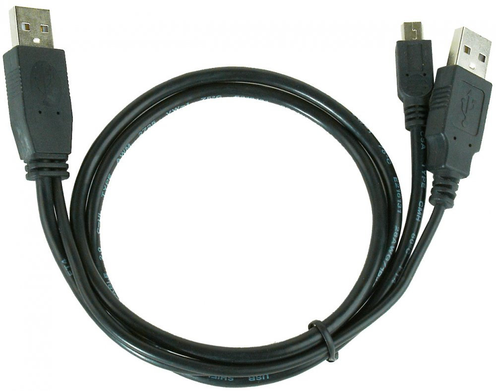 Кабель Gembird USB 2.0 2x A (M) - Mini USB B (M), 0.9м (CCP-USB22-AM5P-3)