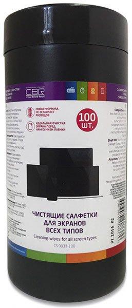 CBR CS 0033-100 чистящие салфетки для экранов всех типов, 100шт