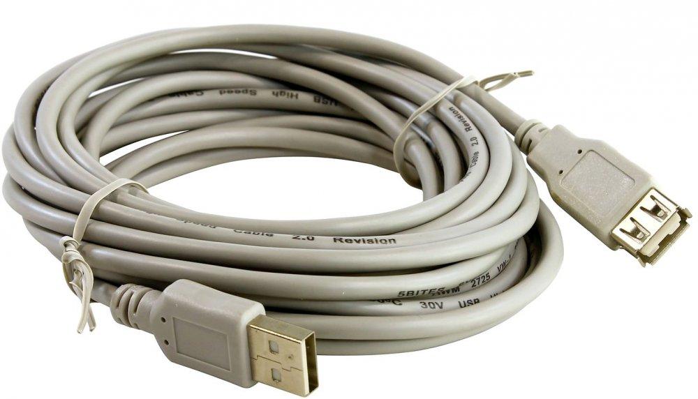 Кабель удлинительный 5bites USB 2.0 A (M) - A (F), 5м (UC5011-050C)