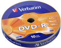 Диск DVD-R Verbatim 4.7Gb 16x AZO matt silver (10шт) (43729)