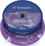 Диск DVD+R Verbatim 4.7Gb 16x Cake Box (25шт) (43500)