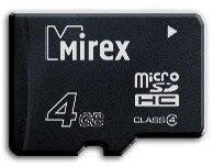 Карта памяти 4Gb MicroSD Mirex Class 4 (13612-MCROSD04)