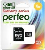 Карта памяти 4Gb MicroSD Perfeo Class 10 microSDHC + SD adapter (PF4GMCSH10AES)