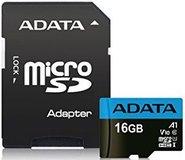 Карта памяти 16Gb MicroSD ADATA Premier Class 10 + адаптер (AUSDH16GUICL10A1-RA1)
