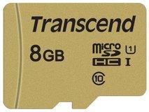 Карта памяти 8Gb MicroSD Transcend Class 10 + адаптер (TS8GUSD500S)