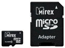 Карта памяти 16Gb MicroSD Mirex Class 10 + адаптер (13613-AD10SD16)