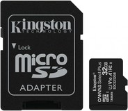 Карта памяти 32Gb MicroSD Kingston Canvas Select Plus Class 10 + SD адаптер (SDCS2/32GB)
