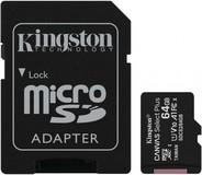 Карта памяти 64Gb MicroSD Kingston Canvas Select Plus Class 10 + SD адаптер (SDCS2/64GB)