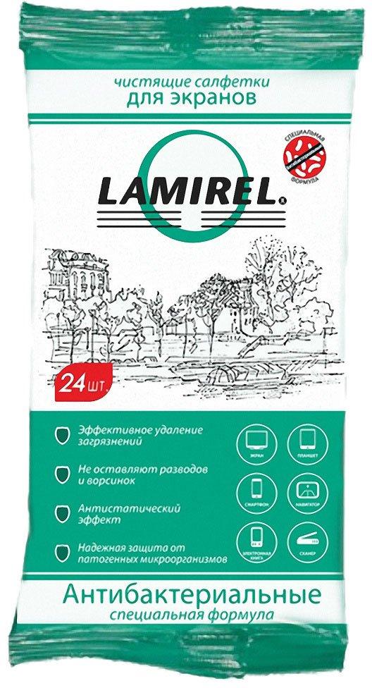 Fellowes LA-21617 антибактериальные чистящие салфетки Lamirel для экранов любого типа, 24шт