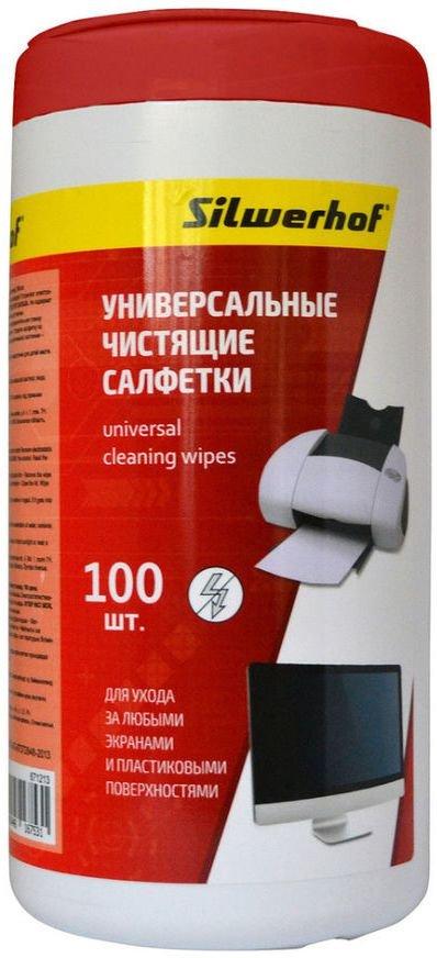 Silwerhof Universal Clean универсальные чистящие салфетки, для экранов и пласт. поверхностей, 100 шт