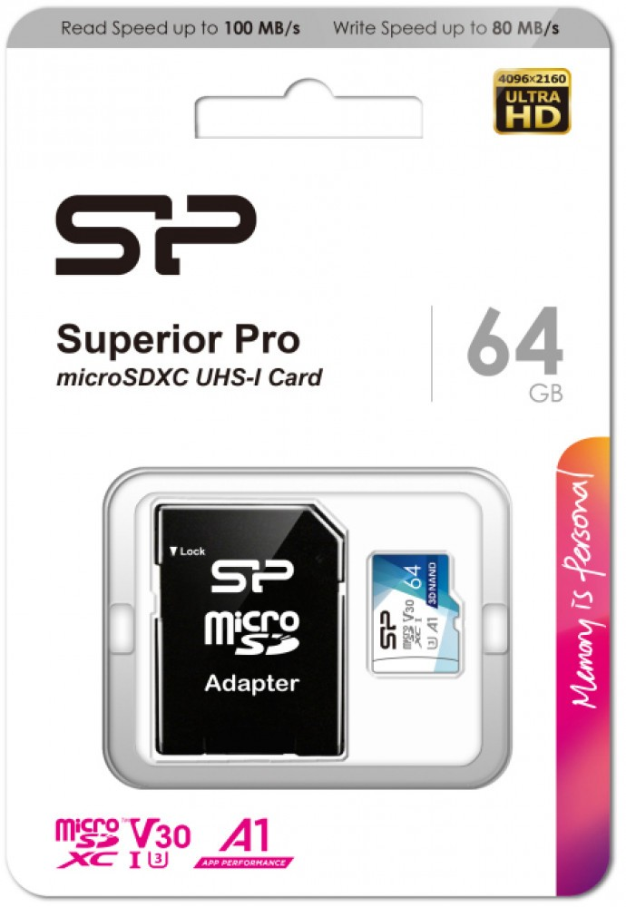 Карта памяти 64Gb MicroSD Silicon Power Superior Pro + SD адаптер (SP064GBSTXDU3V20AB)